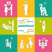 Icons illustrating the parenthood — Stock Vector