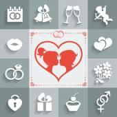 Wedding flat icons — Stock Vector