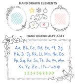 Drawn frames and alphabet — Stock Vector