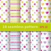 Set of 10 seamless patterns — Stock Vector