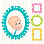 Frames with with   little child — Stock Vector