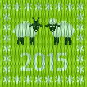 New Year 2015 with  lamb and goat — Stok Vektör