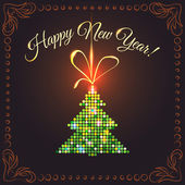 New Year's card with green tree — Vector de stock