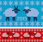 New Year 2015 with lamb and goat — Vecteur