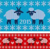 New Year 2015 with lamb and goat — Stock Vector