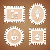Frames with desserts and drink — Stock Vector