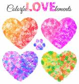 Elements and watercolor hearts — Vetor de Stock