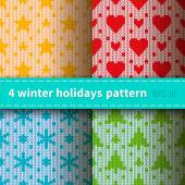Knitted patterns for holidays — Stockvektor