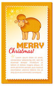 Christmas card with lamb — Stock Vector