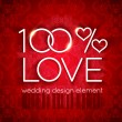 100 percent love wedding design — Stock Vector #62081837