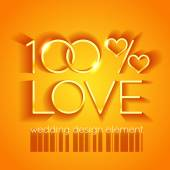 100 percent love wedding design — Vector de stock
