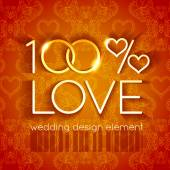 100 percent love wedding design — Stockvector