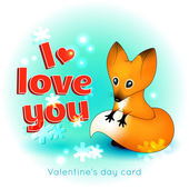 Valentine's Day card with  fox — Stock Vector