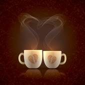 Two cups decorated with coffee beans — Stock Vector