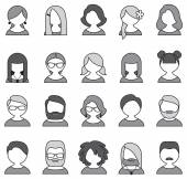 Collection of 20 monochrome user icons — Vettoriale Stock