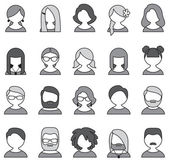 Collection of 20 monochrome user icons — Vector de stock