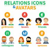 Icons and avatars of social relations — Stock Vector