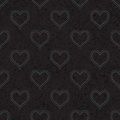 Black seamless background with hearts — Stock Vector