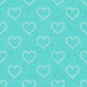 Turquoise seamless background with hearts — Stock Vector