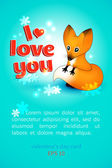 Valentine's Day card with puppy fox — Stock Vector