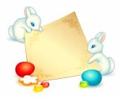 Easter card with two cute white rabbits — Stock vektor