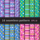 Set of 16 colorful seamless — Vector de stock