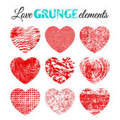 Collection of grunge hearts — Stock Vector