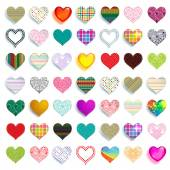 Set of  colorful scrapbook hearts — Stock Vector