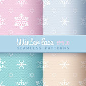 Vintage winter seamless patterns — Stock Vector