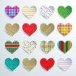 Big set of 16 colorful scrapbook hearts  — Stock Vector #70801621