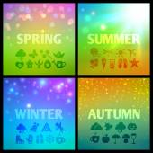 Set of colorful seasons backgound — Stock Vector