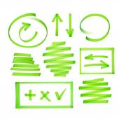 Collection of highlighter elements — Stock Vector