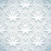 Embossed white royal floral pattern — Vettoriale Stock