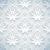 Embossed white royal floral pattern — Stockvektor