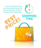 Shopping bag with advertising — Stock Vector