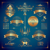 Classic wedding vintage badges — Stockvector