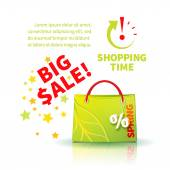 Bright green shopping bag — Stock Vector
