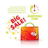 Bright red shopping bag — Stock Vector
