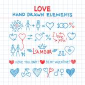 Hand drawn love elements — Stock Vector