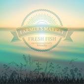 Green badge for farmer's market — Stock Vector