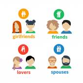 Bright icons and avatars of social relations — Stock Vector