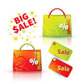 Shopping bags with advertising sellout — Stock Vector