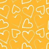 Heart seamless pattern on yellow — Stock Vector