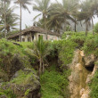Traditional house on the rocky hill among palm trees on a foggy day — Zdjęcie stockowe #56805475