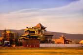 Ivolginsky Datsan at the soft light of a sunset. Traditional Buddhist temple. — Stock Photo