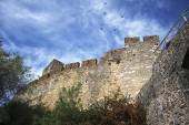 Bottom-up view to the medieval castle wall and birds flying in t — Stock Photo
