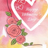 Valentine's day on watercolor background — Stock Vector