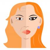 Two halves of the face — Stock Vector