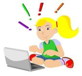 Girl with the comp  exclamation — Stock Vector