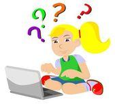 Девушка с комп вопрос — Cтоковый вектор